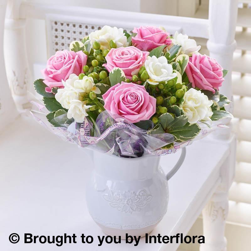 Baby fragrant pink rose freesia jug lawsons flowers langley baby fragrant pink rose freesia jug mightylinksfo
